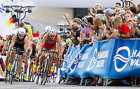 12 JUL 2014 - HAMBURG, GER - Javier Gomez (ESP) (right) from Spain leads the front pack during the bike at the elite men's 2014 ITU World Triathlon Series round in the Altstadt Quarter, Hamburg, Germany (PHOTO COPYRIGHT © 2014 NIGEL FARROW, ALL RIGHTS RESERVED)