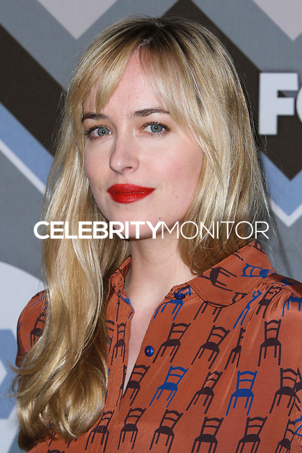 """[(FILE) Actress Dakota Johnson has been cast as the lead actress in """"Fifty Shades of Grey"""" (2014 Film) to play character Anastasia Steele on September 2, 2013. Focus Features and Universal Pictures announced Monday, Sept. 2, 2013 that Dakota Johnson will play Anastasia Steele in the big-screen adaptation of E L James' """"Fifty Shades of Grey."""" Johnson is the daughter of actors Don Johnson and Melanie Griffith.] PASADENA, CA - JANUARY 08: Dakota Johnson arrives at the 2013 TCA Winter Press Tour - FOX All-Star Party at The Langham Huntington Hotel and Spa on January 8, 2013 in Pasadena, California. (Photo by Xavier Collin/Celebrity Monitor)"""