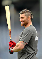 24 September 2011: Washington Nationals outfielder Jonny Gomes swings a bat prior to a game against the Atlanta Braves at Nationals Park in Washington, DC. The Nationals defeated the Braves 4-1 to even up their 3-game series. Mandatory Credit: Ed Wolfstein Photo