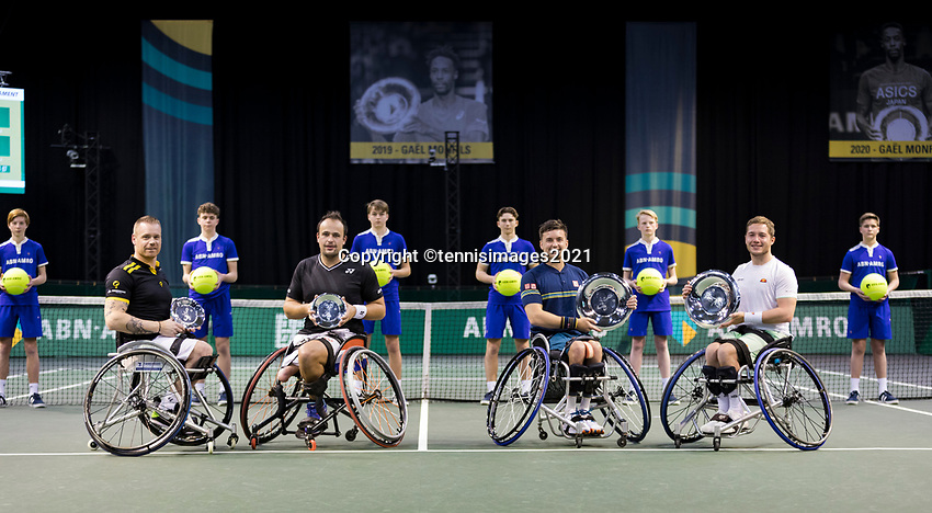 Rotterdam, The Netherlands,7 march  2021, ABNAMRO World Tennis Tournament, Ahoy,  <br /> Doubles Final Wheelchair: Finalists Alfie Hewett (GBR) (R) / Gordon Reid (GBR) (R) and runners up Tom Egeberink (NED) / Maikel Scheffers (NED) (L).<br /> Photo: www.tennisimages.com/henkkoster