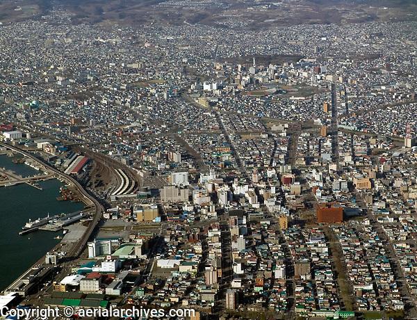 aerial photograph of Hakodate port and rail, Hokkaido, Japan