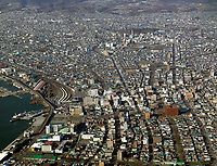 aerial photograph of Hakodate port and rail, Hokkaido, Japan