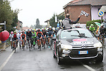 Km0 and the start of the 2015 GranPiemonte race, first held in 1906, running 185km race starting at San Francesco al Campo and finishing in Cirie, Italy. 2nd October 2015.<br /> Picture: Claudio Peri/ANSA | Newsfile