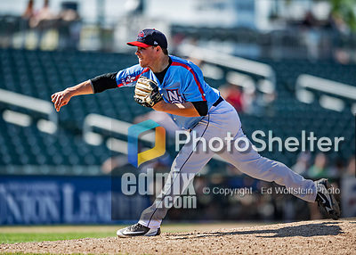 23 June 2019: New Hampshire Fisher Cats pitcher Vinny Nittoli on the mound against the Trenton Thunder at Northeast Delta Dental Stadium in Manchester, NH. The Thunder defeated the Fisher Cats 5-2 in Eastern League play. Mandatory Credit: Ed Wolfstein Photo *** RAW (NEF) Image File Available ***