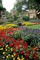 Germany Koblenz Old Town by Rhine River St Kastor Church flower gardens