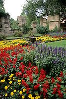 Germany Koblenz Old Town by Rhine River St Kastor Church flower gardens