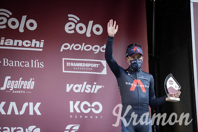 Egan Bernal (COL/Ineos Grenadiers) finishing 3rd<br /> <br /> 15th Strade Bianche 2021<br /> ME (1.UWT)<br /> 1 day race from Siena to Siena (ITA/184km)<br /> <br /> ©kramon