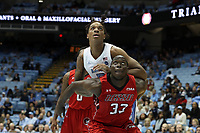 CHAPEL HILL, NC - NOVEMBER 01: Armando Bacot #5 of the University of North Carolina and Melvin Huntley #33 of Winston-Salem State University fight for position during a game between Winston-Salem State University and University of North Carolina at Dean E. Smith Center on November 01, 2019 in Chapel Hill, North Carolina.