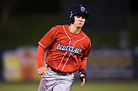 Mickey Moniak (22) of the Lakewood BlueClaws hustles towards third base against the Kannapolis Intimidators at Kannapolis Intimidators Stadium on April 6, 2017 in Kannapolis, North Carolina.  The BlueClaws defeated the Intimidators 7-5.  (Brian Westerholt/Four Seam Images)