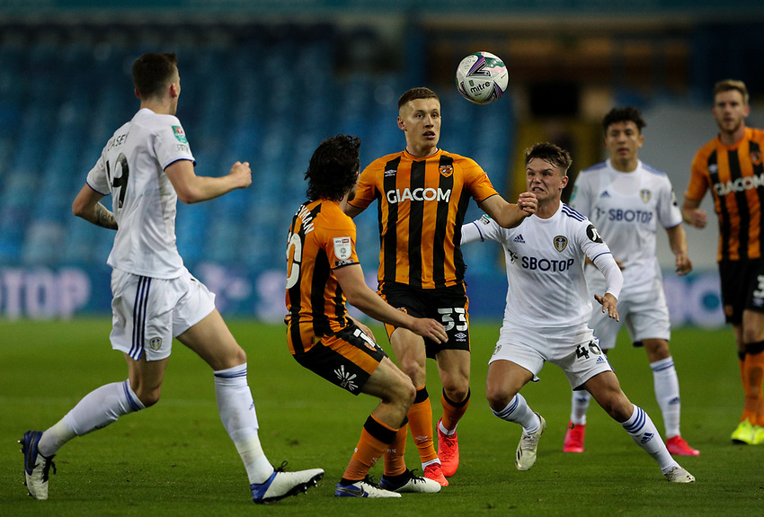 Hull City's Greg Docherty competes with Leeds United's Jamie Shackleton<br /> <br /> Photographer Alex Dodd/CameraSport<br /> <br /> Carabao Cup Second Round Northern Section - Leeds United v Hull City -  Wednesday 16th September 2020 - Elland Road - Leeds<br />  <br /> World Copyright © 2020 CameraSport. All rights reserved. 43 Linden Ave. Countesthorpe. Leicester. England. LE8 5PG - Tel: +44 (0) 116 277 4147 - admin@camerasport.com - www.camerasport.com