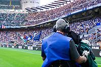 Milan, Italy - september 18 2021 - cameraman on the pitch - Serie A match Inter- Bologna San Siro stadium