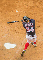 29 May 2016: Washington Nationals outfielder Bryce Harper in action against the St. Louis Cardinals at Nationals Park in Washington, DC. The Nationals defeated the Cardinals 10-2 to split their 4-game series. Mandatory Credit: Ed Wolfstein Photo *** RAW (NEF) Image File Available ***
