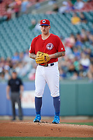 Buffalo Bisons starting pitcher Sean Reid-Foley (38) gets ready to deliver a pitch during a game against the Syracuse Chiefs on July 6, 2018 at Coca-Cola Field in Buffalo, New York.  Buffalo defeated Syracuse 6-4.  (Mike Janes/Four Seam Images)