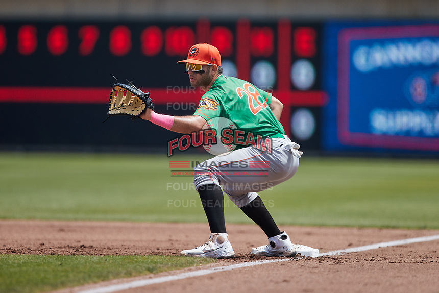 Down East Wood Ducks first baseman Jose Rodriguez (28) on defense against the Kannapolis Cannon Ballers at Atrium Health Ballpark on May 9, 2021 in Kannapolis, North Carolina. (Brian Westerholt/Four Seam Images)