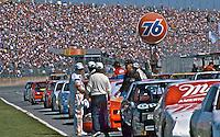 Starting grid, crowd, fans, Daytona 500, Daytona International Speedway, Daytona Beach, Florida, February 15, 1987. (Photo by Brian Cleary/www.bcpix.com)