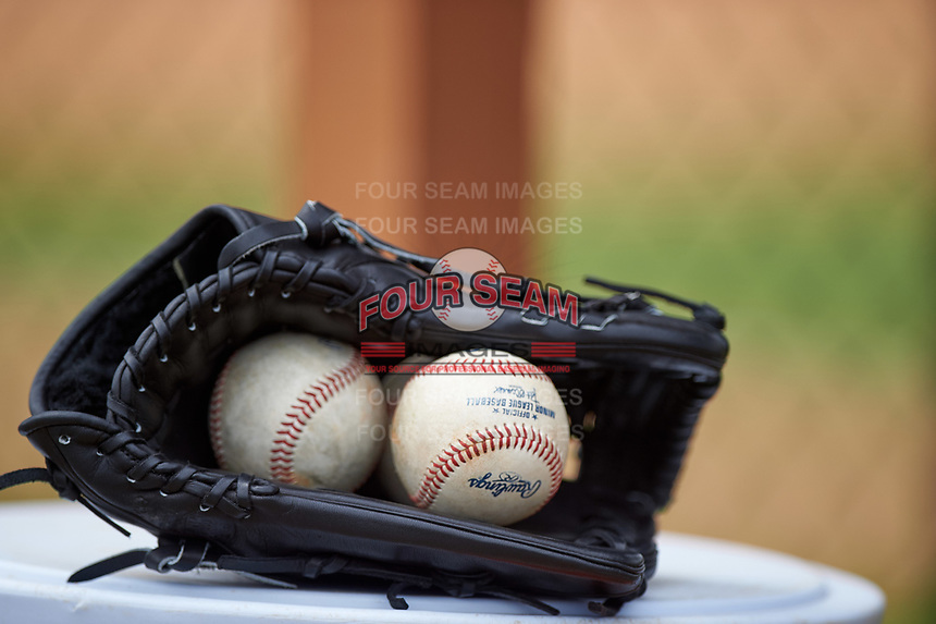 Washington Nationals players glove with baseballs sits on top of a cooler during a minor league Spring Training game against the Detroit Tigers on March 28, 2016 at Tigertown in Lakeland, Florida.  (Mike Janes/Four Seam Images)