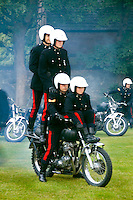 Royal Signal White Helmet Team performing at the Highland Tatoo games in quaint town of Inverness Scotland in the Highlands home of the Loch Ness Monster