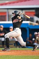Bluefield catcher Brendan Monaghan (16) follows through on his swing versus Burlington at Burlington Athletic Park in Burlington, NC, Monday, August 6, 2007.
