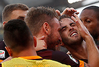 Calcio, Serie A: Roma vs Juventus. Roma, stadio Olimpico, 30 agosto 2015.<br /> Roma's Miralem Pjanic, second from right, celebrates with teammates after scoring during the Italian Serie A football match between Roma and Juventus at Rome's Olympic stadium, 30 August 2015.<br /> UPDATE IMAGES PRESS/Riccardo De Luca