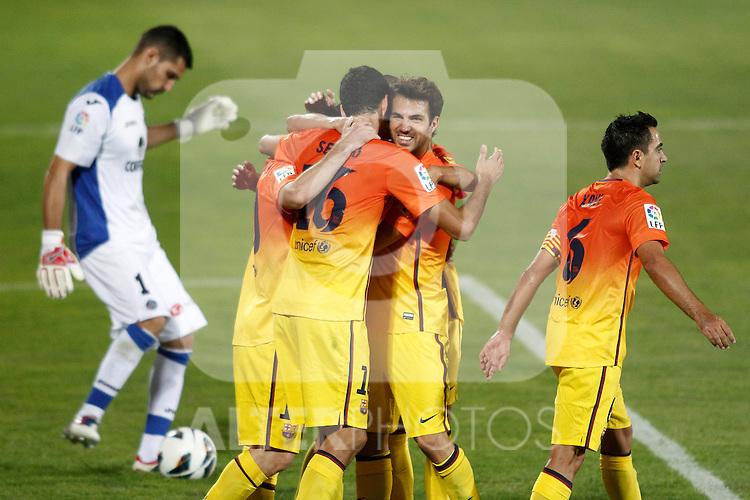 Getafe's  and FC Barcelona's  during La Liga match.September 15,2012. (ALTERPHOTOS/Acero)
