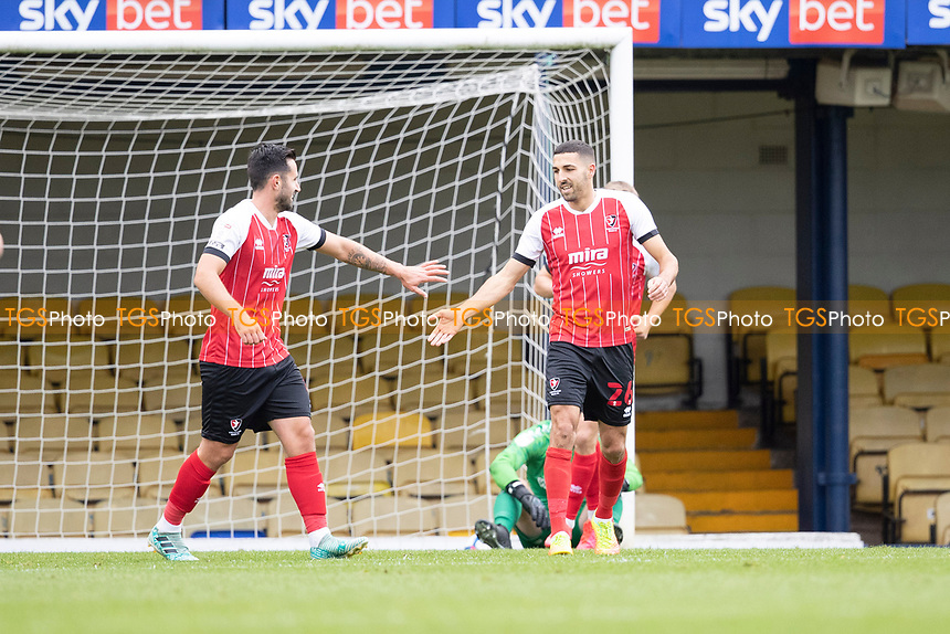 Liam Sercombe, Cheltenham Town acknowledges the opening goal during Southend United vs Cheltenham Town, Sky Bet EFL League 2 Football at Roots Hall on 17th October 2020