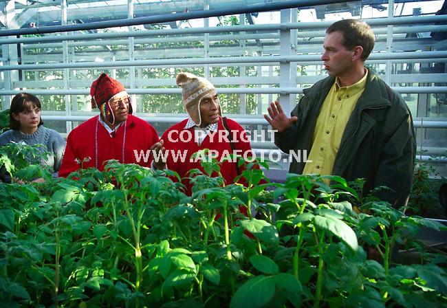 wageningen,20-10-99  foto:Koos Groenewold (APA-Foto)<br />Indianen in de kas met aardappelplanten.Aan de rechterkant Dhr Hoekstra die uitleg geeft aan de 2 broers.