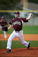 Union Dutchmen starting pitcher Jake Fishman (19) delivers a pitch during the first game of a doubleheader against the St. Olaf Oles on March 20, 2016 at Lake Myrtle Park in Auburndale, Florida.  Union defeated St. Olaf 7-2.  (Mike Janes/Four Seam Images)