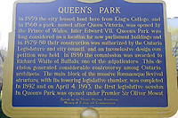 Toronto (ON) CANADA,  April , 2008-.Info panel in Queens Park...urban park in the Downtown area of Toronto. Opened in 1860 by Edward, Prince of Wales, it was named in honour of Queen Victoria. The park is the site of the Ontario Legislature, which houses the Legislative Assembly of Ontario, and so the phrase Queen's Park is also frequently used to refer to the Government of Ontario....