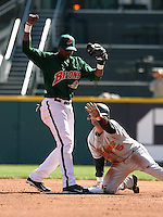 April 21, 2005:  Second Baseman Brandon Phillips of the Buffalo Bisons during a game at Dunn Tire Park in Buffalo, NY.  Buffalo is the International League Triple-A affiliate of the Cleveland Indians.  Photo by:  Mike Janes/Four Seam Images