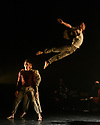 """2Faced Dance present a triple bill, entitled """"EVERYTHING (but the girl)"""", in the Patrick Studio, Birmingham Hippodrome. The company celebrate their 20th anniversary with this world premiere. The piece shown is: 7.0. The dancers are: Louis Parker-Evans, Cameron Woolnough, Sam Buswell, Will Hodson, John Robinson."""