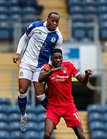 Blackburn Rovers' Ryan Nyambe and Nottingham Forest's Sammy Ameobi battle for the ball<br /> <br /> Photographer Alex Dodd/CameraSport<br /> <br /> The EFL Sky Bet Championship - Blackburn Rovers v Nottingham Forest - Saturday 17th October 2020 - Ewood Park - Blackburn<br /> <br /> World Copyright © 2020 CameraSport. All rights reserved. 43 Linden Ave. Countesthorpe. Leicester. England. LE8 5PG - Tel: +44 (0) 116 277 4147 - admin@camerasport.com - www.camerasport.com