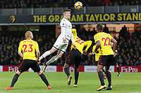 Alfie Mawson of Swansea City takes a header but fails to score from a Swansea corner kick during the Premier League match between Watford and Swansea City at the Vicarage Road, Watford, England, UK. Saturday 30 December 2017