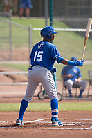 Khalil Lee (15) of the Kansas City Royals at bat during an Instructional League game against the San Francisco Giants at the Giants Training Complex on October 17, 2017 in Scottsdale, Arizona. (Zachary Lucy/Four Seam Images)
