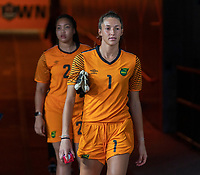 HOUSTON, TX - JUNE 13: Sydney Schneider #1 of Jamaica walks onto the field before a game between Jamaica and USWNT at BBVA Stadium on June 13, 2021 in Houston, Texas.