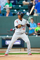Francisco Lindor (12) of the Carolina Mudcats at bat against the Winston-Salem Dash at BB&T Ballpark on April 13, 2013 in Winston-Salem, North Carolina.  The Dash defeated the Mudcats 4-1.  (Brian Westerholt/Four Seam Images)