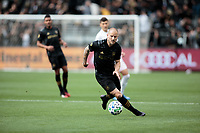 LOS ANGELES, CA - MARCH 01: Jordan Harvey #2 of the LAFC turns with ball during a game between Inter Miami CF and Los Angeles FC at Banc of California Stadium on March 01, 2020 in Los Angeles, California.