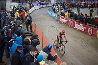 Lars Van der Haar (NLD/Giant-Alpecin) coming through as race leader<br /> <br /> Men's Elite Race<br /> <br /> UCI 2016 cyclocross World Championships,<br /> Zolder, Belgium