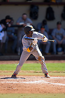 Cornell Nixon (5) of the Kennesaw State Owls squares to bunt against the Winthrop Eagles at the Winthrop Ballpark on March 15, 2015 in Rock Hill, South Carolina.  The Eagles defeated the Owls 11-4.  (Brian Westerholt/Four Seam Images)