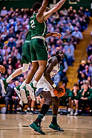 19 January 2019: University of Vermont Catamount Forward Samuel Dingba, a Redshirt Senior from Yaounde, Cameroon, in first half Men's Basketball action against the Binghamton University Bearcats at Patrick Gymnasium in Burlington, Vermont. Dingba recorded his first career double-double with 10 points and a career-high 14 rebounds as the Catamounts defeated the Bearcats 78-50 to remain unbeaten in conference play to date this season. Mandatory Credit: Ed Wolfstein Photo *** RAW (NEF) Image File Available ***