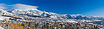 A panoramic view of Oldtown Steamboat Springs and Mt. Werner ski area.