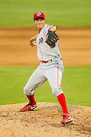 Relief pitcher Chad Poe #24 of the Lakewood BlueClaws in action against the Kannapolis Intimidators at Fieldcrest Cannon Stadium July 14, 2010, in Kannapolis, North Carolina.  Photo by Brian Westerholt / Four Seam Images