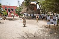 Courtyard Exhibiting the Work of Three Artists, Biannual Arts Festival, Goree Island, Senegal.