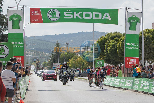 The breakaway featuring Edward Planckaert (BEL) Alpecin-Fenix, Jonathan Lastra (ESP) Caja Rural-Seguros RGA, Magnus Cort (DEN) EF Education-Nippo, Joan Bou (ESP) Euskaltel-Euskadi and Harm Vanhoucke (BEL) Lotto Soudal at the intermediate sprint during Stage 11 of La Vuelta d'Espana 2021, running 133.6km from Antequera to Valdepeñas de Jaén, Spain. 25th August 2021.     <br /> Picture: Cxcling | Cyclefile<br /> <br /> All photos usage must carry mandatory copyright credit (© Cyclefile | Cxcling)