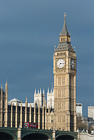 Big Ben and double-decker bus on the Westminster Bridge, London, England
