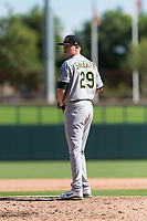 Mesa Solar Sox relief pitcher Sam Sheehan (29), of the Oakland Athletics organization, gets ready to deliver a pitch during an Arizona Fall League game against the Glendale Desert Dogs at Camelback Ranch on October 15, 2018 in Glendale, Arizona. Mesa defeated Glendale 8-0. (Zachary Lucy/Four Seam Images)