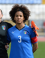 20180302 - LARNACA , CYPRUS : Italian Sara Gama pictured during a women's soccer game between Italy and Wales , on friday 2 March 2018 at GSZ Stadium in Larnaca , Cyprus . This is the second game in group A for Italy and Wales during the Cyprus Womens Cup , a prestigious women soccer tournament as a preparation on the World Cup 2019 qualification duels. PHOTO SPORTPIX.BE | DAVID CATRY