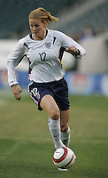 06 November,  2004. USWNT forward Cindy Parlow (12) pushes the ball forward  at  Lincoln Financial Field in Philadelphia, Pa.