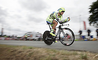 Daniele Bennati (ITA/Tinkoff-Saxo) solo-ing to the finish after having lost contact with his team<br /> <br /> stage 9: TTT Vannes - Plumelec (28km)<br /> 2015 Tour de France