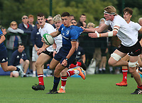 Saturday 5th September 2021<br /> <br /> Jed Tormey is caught by Charlie Irvine during U19 inter-pro between Ulster Rugby and Leinster at Newforge Country Club, Belfast, Northern Ireland. Photo by John Dickson/Dicksondigital