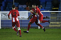 Jaydon Charles of Clapton scores the first goal for his team and celebrates with his team mates during Redbridge vs Clapton, Essex Senior League Football at Oakside Stadium on 31st January 2020